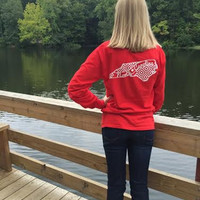 Red and White NC Long Sleeve Tee