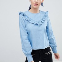 Only Siga Frill Front Denim Blouse at asos.com