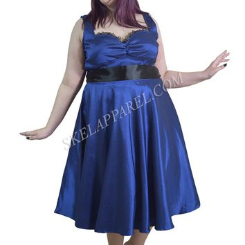 Plus Size Vintage Design Royal Blue Satin Dress with Sash Ribbon Belt