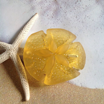 Large sea glass sand dollar-beach glass bead-cultured frosted tumbled yellow glass-drilled glass sand dollar-beading craft supply-sand glass