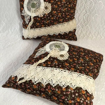 2 Rustic Boho Throw Pillows with Vintage Ivory Crocheted Lace Flowers, 14 x 14