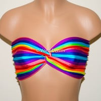 Rainbow Stripe Festival Spandex Bandeau Top, Twisted Spandex Bandeau Bikini, Women Swimwear