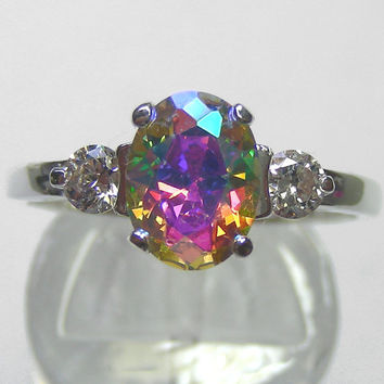 Unique Engagement Ring Lunar Lavender Mystic Fire CZ 2ct Modern Design Accented Sterling Silver Ring Custom Sized 5-12 ,