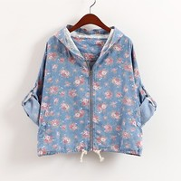 Vintage flower girl denim hooded coat