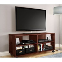 Modern Royal Cherry Finish TV Stand with Casters Wheels