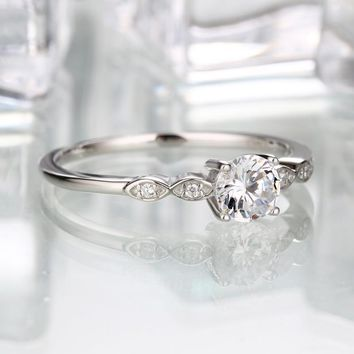 Silver 925 Jewelry Luxury Bridal  Cubic Zirconia Rings For Women  Solitaire Engagement  Wedding Party Brand Fine Jewelry