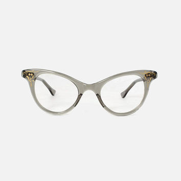 Vintage 50s Glasses FRAMES / 1950s Transparent Smoke Gray Cat-Eyes with Gold Trim CATEYE Eyeglasses