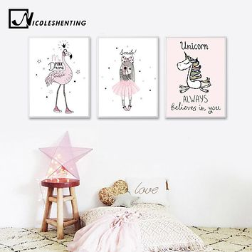 Cartoon Girl Unicorn Flamingo Poster and Print Wall Art Canvas Painting Nordic Style Nursery Picture for Living Room Home Decor