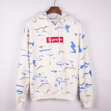 Sumpreme Tie-dye and embroidered hoodies round collar hoodie