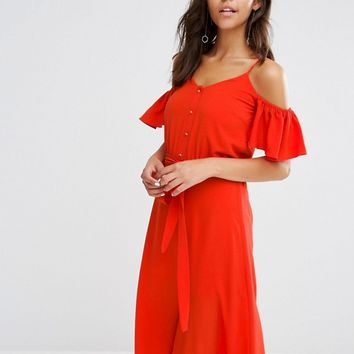 River Island Frill Cold Shoulder Button Front Dress at asos.com