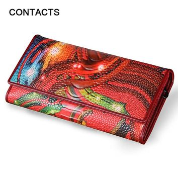 Women Wallet Vintage Flower Printed Ostrich Red Wallets Ladies' Long Clutches With Coin Purse Card Holder