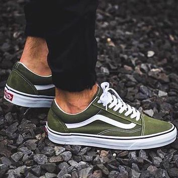 Vans Old Skool Classics Leisure Skate shoes  Sneaker Two-style Optional(high tops low tops) Army green