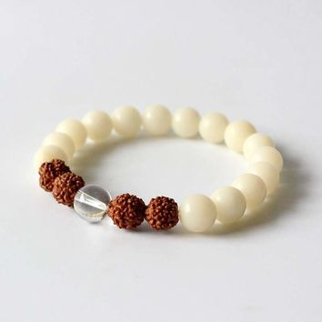 Natural White Bodhi Seed Rudraksha Beads Stretch Bracelet-Accessorize Like You Are Casually Smart