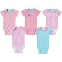 Gerber Girls 5 Pack Pink/Aqua Assorted Lap Shoulder Short Sleeve Onesuits