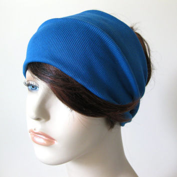 Teal Blue Yoga Stretch Turban Headband, Dreadband, Head Wrap, Turband, Hair Tube, Dreads Hair Accessories Gifts for Her