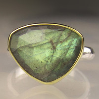 Rose Cut Labradorite Cocktail Ring - 18k Gold and Sterling Silver
