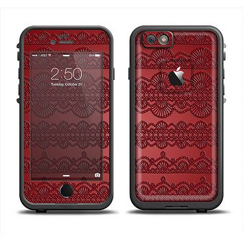 The Dark Red Highlighted Lace Pattern Apple iPhone 6 LifeProof Fre Case Skin Set