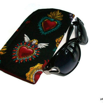 Sacred Heart Milagros Slide in Sunglass Case or Eyeglass Case Pouch Choose your Size