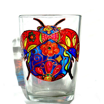Ladybug Coffee Mug Hand painted Glass Coffee Mug Painted glass mug Coffee Mug Personalised Mugs Mosaic mug