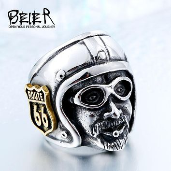 Beier Motorcycle Biker Man Ring With Plated-Gold Route 66 Stainless Steel Unique Route 66 MC Club Biker Ring BR8-378