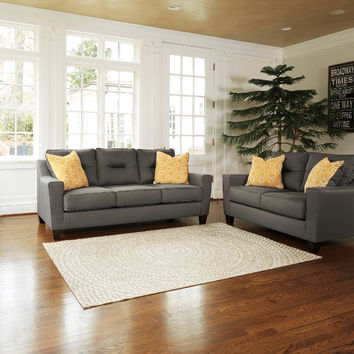 2 pc Forsan nuvella collection gray fabric upholstered sofa and love seat set with squared arms