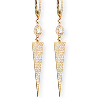 18k Yellow Gold Diamond Dagger Earrings