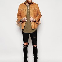 ASOS | ASOS Military Overhead Shirt With Tie Front In Khaki at ASOS