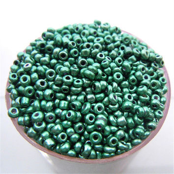 Free Shipping Sale New Green Color Shining 1000Pcs 2mm Czech Glass Seed Spacer Beads Jewelry Making DIY Pick 46 Colors