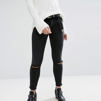 Free People Peyton Studded High Rise Skinny Jeans at asos.com