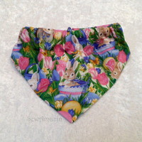 Easter Bunnies and Pink Tulips Spring Elastic Neck Scrunchie Bandana