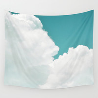 Mint Sky 2 - Wall Tapestry, White Cloud Skyline Backdrop Hanging, Boho Chic Home Decor Interior Accent Tapestry. In Small, Medium and Large