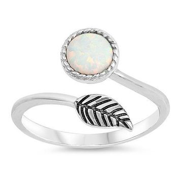 Sterling Silver Round White Opal and Leaf Wrap Ring