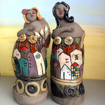 Women ceramic sculpture , set of two female ceramic figures / figurative sculpture / Israeli art / ooak handmade ceramics and pottery