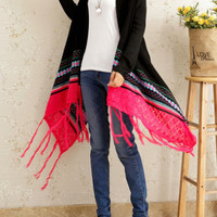 Black and Pink Geometric Printed Tassel Hemline Cardigan