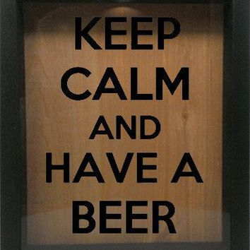 "Wooden Shadow Box Wine Cork/Bottle Cap Holder 9""x11"" - Keep Calm and Have A Beer"