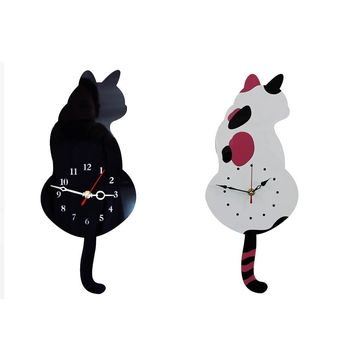 Creative Cute White/Black Wagging Tail Cat Wall Clock for Household Decorative Wall Clocks ing