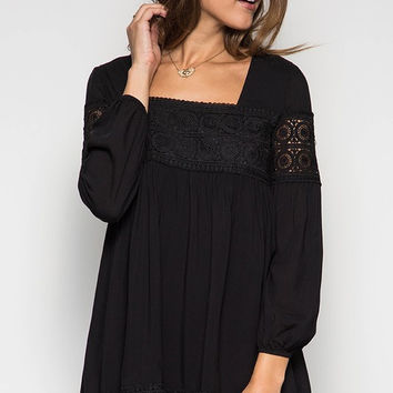 Baby Doll Dress with Lace Detail - Black