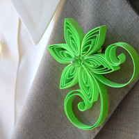 Neon Green Boutonniere, Neon Green Buttonhole, Neon Green Wedding, Mens Wedding Boutonnieres