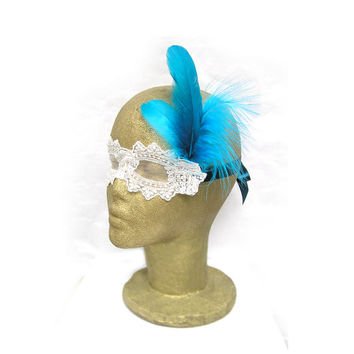 White Lace Mask with Teal Feathers - Masquerade Wedding - Masquerade Ball - Eye Mask
