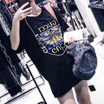 """""""Gucci"""" Women Casual Fashion Dragonfly Embroidery Butterfly Letter Pattern Print Short Sleeve T-shirt Tops Tee"""