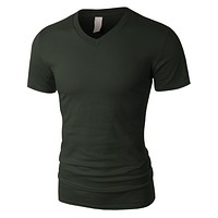 PREMIUM Mens Lightweight Ultra Soft V Neck Short Sleeve T Shirt