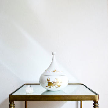 Bjorn Wiinblad Covered Gold and White Porcelain Bowl Rosenthal