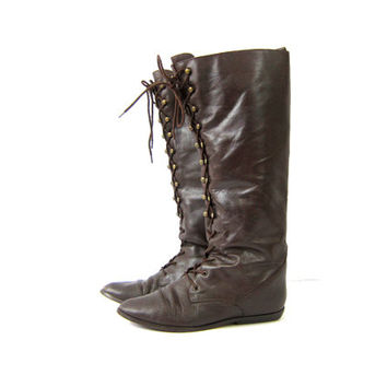 Vintage tall leather boots Lace Up Dark Brown Mid Calf boots equestrian boots Lace Up Preppy Leather Riding boots Womens Size 8