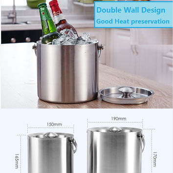2 3L Double Wall Stainless Steel Ice Wine Cooler Whisky Wort Chiller With Portable Handle Barware Champagne Buckets