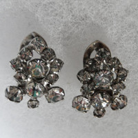 Rhinestone Cluster Clip Earrings