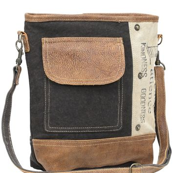 Myra Bag Peace Pocket Up-cycled Canvas & Denim Shoulder Bag S-0895