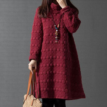 New Women Dress Loose Big Size Women's Clothing Quilted Casual Dress Fashion Solid Color Dots Dresses Vestidos Femininos C1562