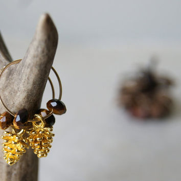 Pinecone Earrings - hoop earrings - tigers eye - gold pine cone earrings - gold fill hoop earrings - Woodland Fashion - Autumn Fashion