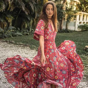 2017 summer dresses exotic floral print V-neck maxi dress drawstring waist silhouette long Women's dress vestidos