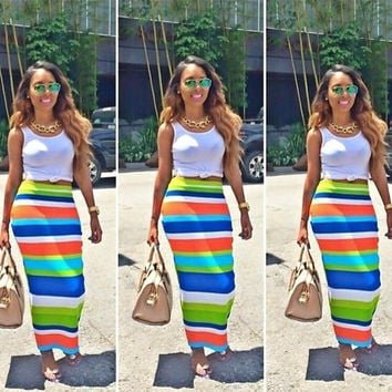 Multi Color Cropped Top and Striped Maxi Skirt